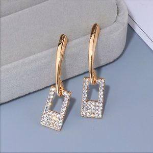 Goldtone and CZ earrings geometric NIP